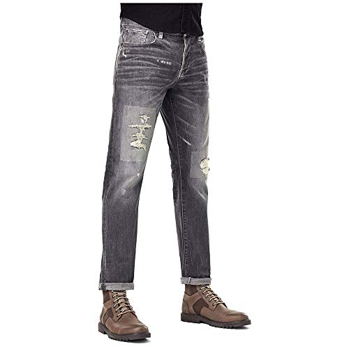 G-STAR RAW 3301 Straight Tapered Jeans, Faded Gravel Grey Restored C293-C287, 28W / 32L para Hombre