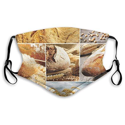 Mode Comfortabele Winddicht Verschillende stadia van brood maken van tarwe tot eindproduct Collage Patroon Gedrukt Facial decoraties