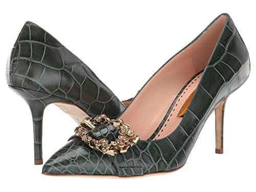 Rupert Sanderson Solitaire Crystal Ring Pump Sage Printed Croc 37.5 (US Women's 7.5) M