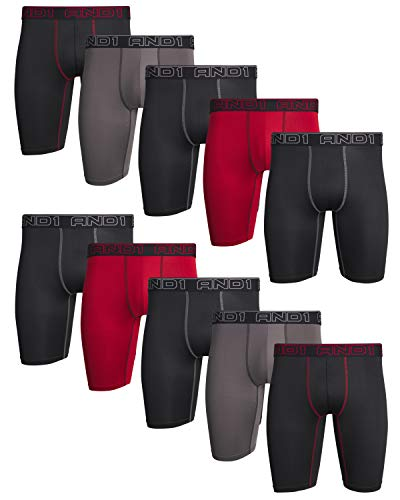 AND1 Mens Compression Long Leg Performance Boxer Briefs (10 Pack), Black/Red/Charcoal, Size Large'