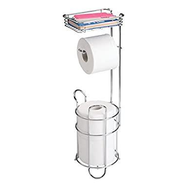 mDesign Freestanding Metal Wire Toilet Paper Roll Dispenser Holder and Extra Roll Reserve with Storage Shelf for Cell, Mobile Phone - Bathroom Storage Organization - Holds 3 Rolls - Chrome