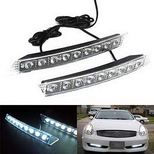 iJDMTOY 9-LED Euro Xenon White LED Daytime Running Light Kit, Compatible With 2005-2008 Audi A6, Also Universal Fit Many Other Cars