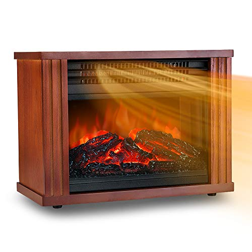 Mini Electric Fireplace Desktop Heater, 3D Realistic Dancing Flame Effect, Overheat Safety Feature, Wood Fram Indoor Space Freestanding Heater for Small Room Basement, 1200W