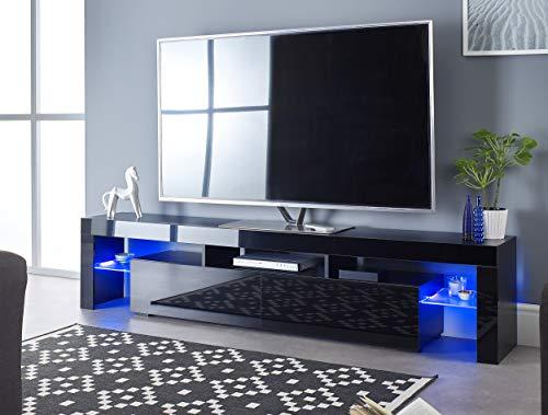 MMT Furniture Designs Ltd - Mobile TV Moderno da 200 cm di Larghezza per TV da 65 a 80 Pollici con luci LED Blu per 50 55 60 65 70 75 80 90 Pollici LED LCD al Plasma