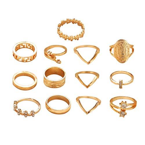 Cosye Conjunto de Anillos Conjunto de Belleza Retro Conjunto de Anillos de Diamantes de Cristal Patrón Love Fatima Palm Ring Ring Set