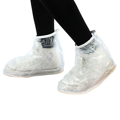 uxcell Unisex PVC Reusable Water Dirt Resistant Non-Slip Shoes Covers Overshoes White Pair XL
