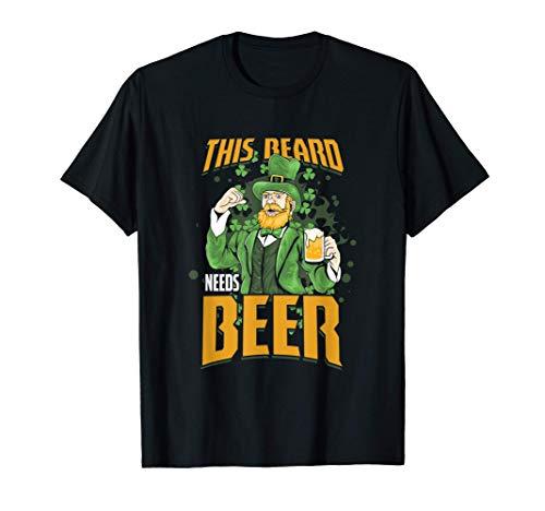 Herren St Patricks Day Dieser Bart Braucht Bier Rothaarig Geschenk T-Shirt
