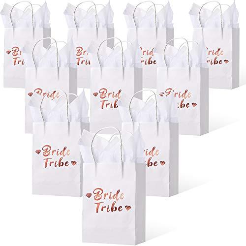 Outus 12 Pieza 8 x 6 x 3 Pulgadas Team Bride Rose Gold Foil Dama de Honor Bolsa de Regalo para Despedidas de Soltera y Despedidas de Soltera y 12 Hojas de Papel de Seda de 39.3 x 19.7 Pulgadas