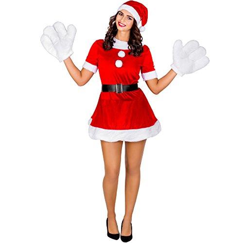 TecTake dressforfun Damenkostüm sexy Weihnachtselfe | kurzes Kleid mit aufgenähten Schneebällen | inkl. Zipfelmütze und Handschuhen (S | Nr. 300454)