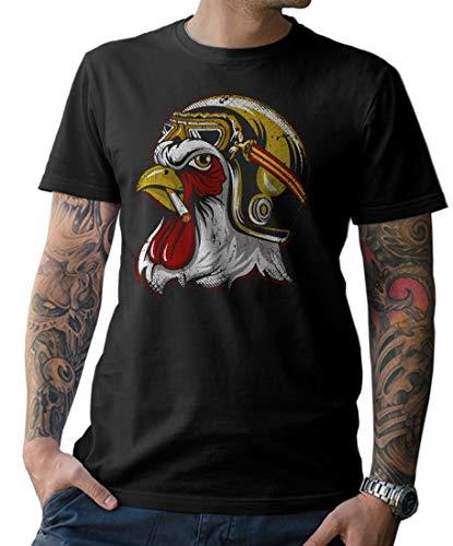 NG articlezz - Biker Rooster Camiseta Cafe Racer Oldschool Tamaño P-5xg - Negro/Negro, 4XL