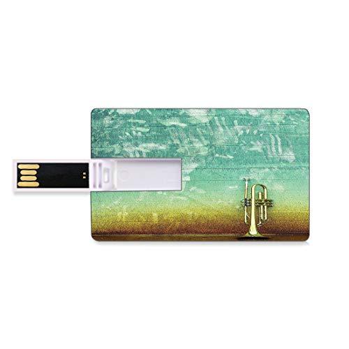 4 GB USB-Flash-Thumb-Laufwerke Musik Bank Kreditkarte Form Business Key U Disk Memory Stick Speicher Alte,abgenutzte,einzelne Trompete steht allein vor einer verblassten Wand Jazz-Musik-Themenfoto,Gra