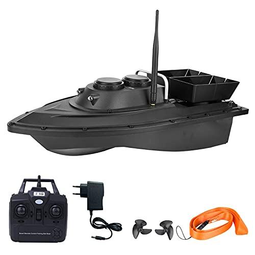 Ahageek Barca con Esche da Pesca telecomandate da 500 m, Fish Finder 1,5 kg di carico Barca con Esche Artificiali a Doppia Cabina Intelligente con Doppi Motori Luce Notturna a LED