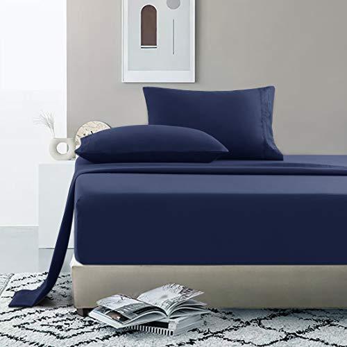 Starcast Bed Sheet Set King Size Soft Microfiber 1800 Thread Count Bedding Sheet Set Deep Pocket, Wrinkle,Fade Resistant, Breathable, Hotel Luxury Cooling Sheets Set-4 Piece (Navy…