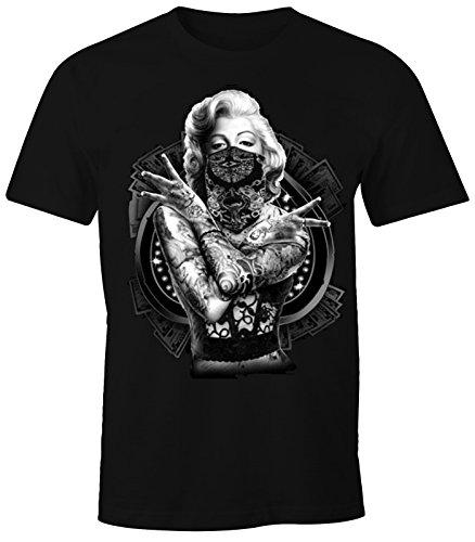 MoonWorks Herren T-Shirt Marilyn Monroe Gangster Outtlaw Tattoo schwarz XXL