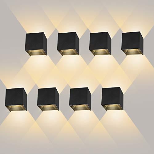 8 Pezzi 12W Lampada da Parete LED Moderno Applique da Parete interno/esterno Bianco caldo 3000K Lampada da Muro Applique cubo in alluminio IP65 Impermeabile Nero