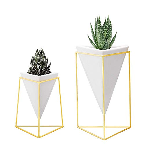 Nellam Modern Geometric Table Vases - Set of 2, 1 x Large, 1 x Small, White Ceramic Porcelain Style Baskets, with Decorative Brass Wire Frames - Accents Blue, Turquoise, and Yellow Flowers