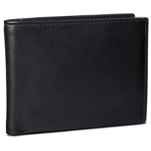 ROYALZ Vintage Lederen Portemonnee voor Heren Echt Leder Portefeuille Leer Portemonnaie Mannen EC-kaartvakje, Kleur:Zwart