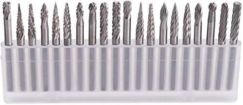 Wolframstahl Fräser, GOXAWEE 20 Stück Frässtifte Schleifbohrer mit 3 mm Schaft für Holz Gravieren, Schnitzen, Bohren, Skulptur passend für Dremel Multifunktionswerkzeug