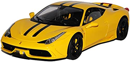 Ferrari 458 Speciale Coupe Gelb mit Streifen Ab 2013 1 18 Mattel Elite Modell Auto