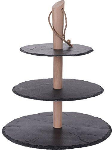 Schiefer Etagere 36 cm - 3 Platten - Servierplatte mit Holzständer - Etagenständer 3-stöckig