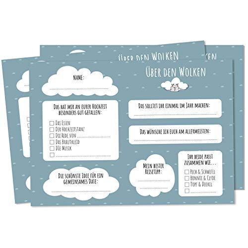 Nalara sobre las Nubes – 50 Tarjetas de Vuelo Globo para Boda para la Pareja de Novios con Dulces Deseos para un Gran Matrimonio como Juego de Boda para Invitados.