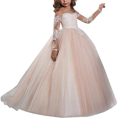 Fiore Bianco Girl Dress con Merletto Appliques Vestito della Prima Comunione Vestito Ragazza di Fiore di Pizzo a Maniche Lunghe per Matrimonio #14 Rosa 10-11 Anni