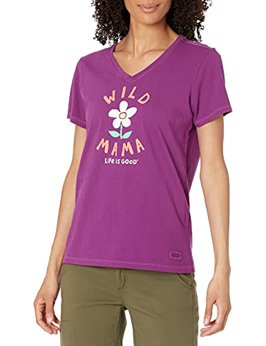 Life Is Good Damen Standard Crusher V-Ausschnitt Graphic T-Shirt, Happy Plum, Größe S