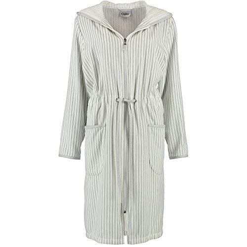Cawö Home badjas dames korte jas met capuchon 6416 wit/zilver - 76