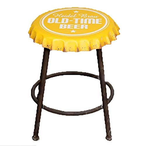 YUXO Counter Bar Stools Retro Vintage Style Bar Stool Bar Stool Iron Beer Cover Model Bar Chair Industrial Stool Breakfast Stool Bar Stool Chair Seat High Stools for Home (Color : Yellow)
