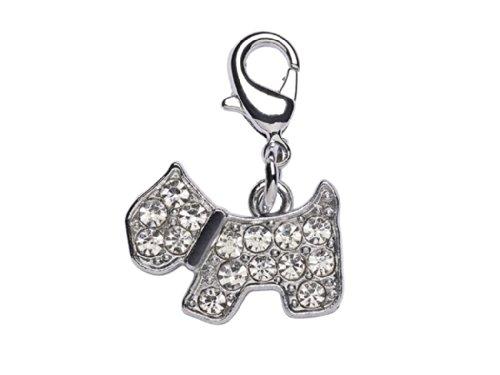 La Loria Charms-Anhänger Hund mit Karabinerhaken, Accessoire mit Strass