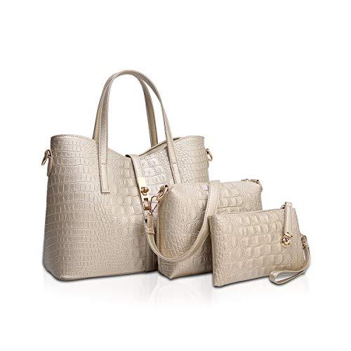 NICOLE & DORIS Damen Handtaschen Stück Handtasche 3 Stück Tote Handtasche + Umhängetaschen + Armband, Krokodil Tasche Frauen Golden