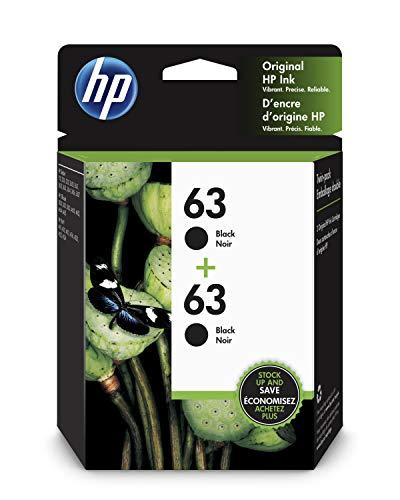 HP 63 | 2 Ink Cartridges | Black | Works with HP DeskJet 1112, 2100 Series, 3600 Series, HP ENVY 4500 Series, HP OfficeJet 3800 Series, 4600 Series, 5200 Series | F6U62AN