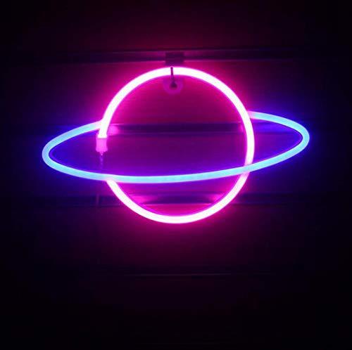 DKZ LED-Planet Neon, Kinder Nachtlicht USB/Batterie Neonlichter Für Raumwand Kinderschlafzimmer Geburtstag Party Bar Strand Hochzeitsdekoration, 30 * 18 cm,Blue+pink