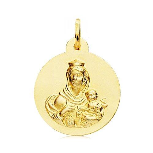 Medalla Oro 18K Escapulario Virgen Carmen Corazón Jesús 24mm [Ab4800]