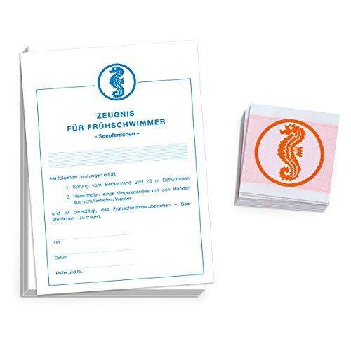 Sport-Thieme Set Frühschwimmerabzeichen Seepferdchen inkl. Zeugnissen, Zum Aufnähen, quadratisch von Rolle