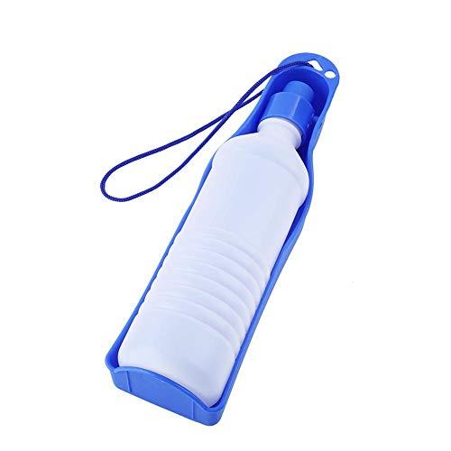 Pssopp Trinkflasche Hunde Reise Trinkwasserflasche 250 ml / 500 ml Tragbare Haustier Reise Wasserflasche Hunde Katzen Wasserspender Faltbar Hundetrinkflasche (500ml-blau)