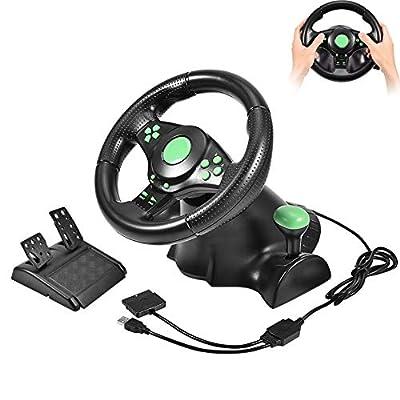 Taidda Gaming Wheel Controller, Gaming Vibration Racing Steering Wheel Pedals PC Racing Wheel for X Box 360/ PS2/ PS3/ PC USB
