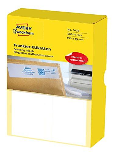 AVERY Zweckform 3428 Frankier-Etiketten (für Frama, Papier matt, 150 x 50 mm) 500 Stück weiß