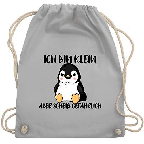 Shirtracer Sprüche - Ich bin klein aber scheiß gefährlich Pinguin schwarz - Unisize - Hellgrau - turnbeutel spruch pinguin - WM110 - Turnbeutel und Stoffbeutel aus Baumwolle