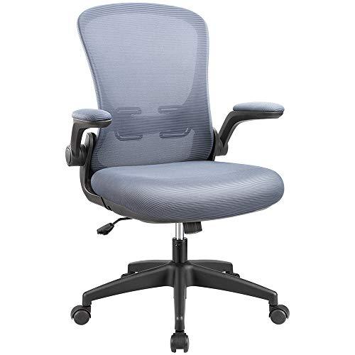 KaiMeng Office Computer Chair Ergonomic Desk Chair Mesh Task Chair Flip-up Arms Modern Executive Lumbar Support, Adjustable High Back Swivel Chair (Grey)