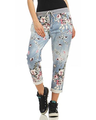 Zarmexx Damen Sweatpants Baggy Hose Boyfriend Freizeithose Sporthose All-Over Roses Print One Size (jeans2, One Size)