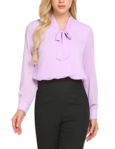 ACEVOG Office Shirt Bow Tie Neck Long Sleeve Lilac Tops and Blouses for Women,Lavender,Small