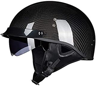 Leoie Motorcycle Helmet, Breathable Open Face Helmet Safety Racing Helmet with Strap Carbon Black XXL