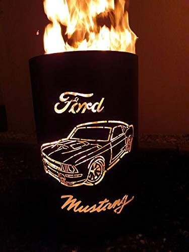 Tiko-Metalldesign Feuertonne/Feuerkorb mit Motiv Ford Mustang