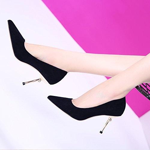 MDRW-Dame élégante Travail Loisirs Printemps 8Cm Satin Chaussures Chaussures Unique High-Heeled Suivi Fine Pointe Port Lumière Sauvage Simple Chaussures Femmes Chaussures De Travail