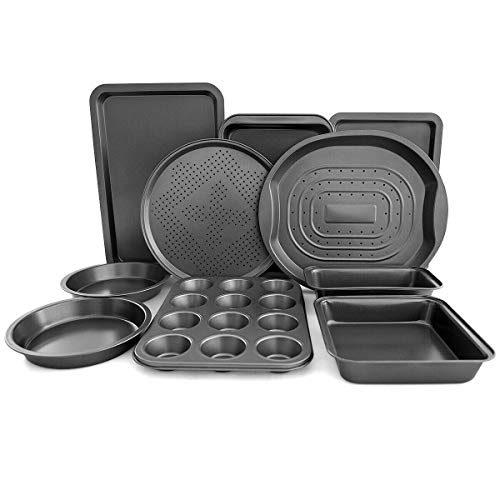Giantex 10-Piece Nonstick Bakeware Set, Round and Square Baking Pans, Baking Sheets,...