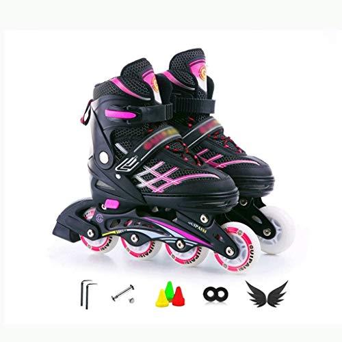 KMILE Patines en línea Niños para niños Patines de Rodillos Patines Roller Blades ABEC 7 Patines en línea para niños de Carbono Zapato Ajustable (Size : 34-38EU)