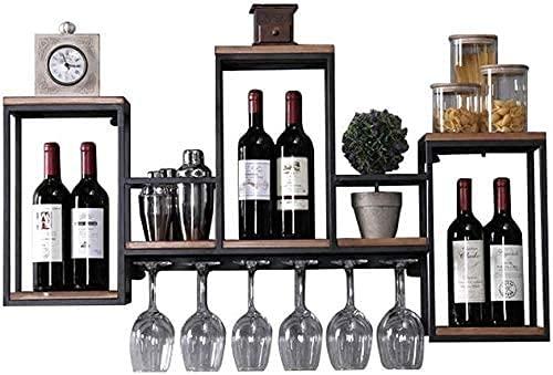 AERVEAL Titular de Vino Estantes Flotantes Hierro Forjado Hierro de Madera Estante de Vino Colgante de Vino Rack de Vino Guardar