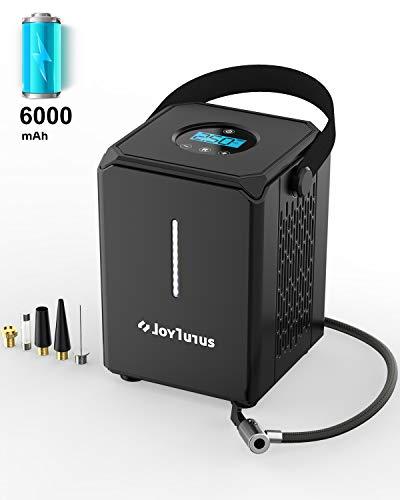 JOYTUTUS Elektrische Luftpumpe, tragbare Luftkompressor, 6000 mAh tragbare Reifenpumpe für Fahrrad Auto Motorrad Ball und Schwimmringe