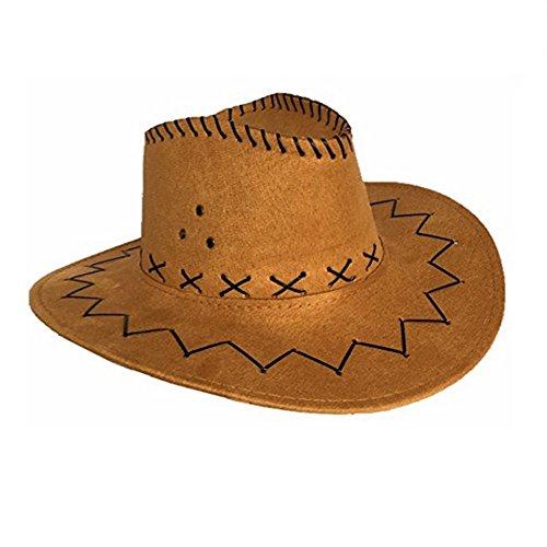 Delmkin Cowboyhut Westernhut Kostümzubehör Unisex Cowboy-Hut (Hellbraun)